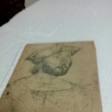 Arte: DIBUJO A CRISTÓBAL COLÓN Y LSABEL SEGUNDA POR DETRÁS EN EL MISMO PAPEL. Lote 128826090
