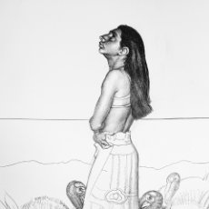 Arte: FRANCISCO HERNANDEZ (MELILLA 1932-VELEZ MÁLAGA 2012), MAGNIFICO DIBUJO ORIGINAL A LAPIZ FIRMADO.. Lote 99833455