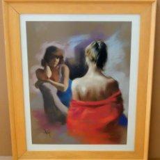 Arte: DOMINGO ALVAREZ GOMEZ (BARCELONA, 1942) DIBUJO A PASTEL. RETRATO FEMENINO. Lote 99950543