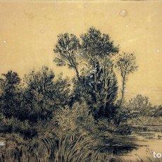 Arte: PAISAJE CON LAGO. DIBUJO CARBONCILLO SOBRE PAPEL. FIRMA JB. ESPAÑA. 1895(?). Lote 99962347
