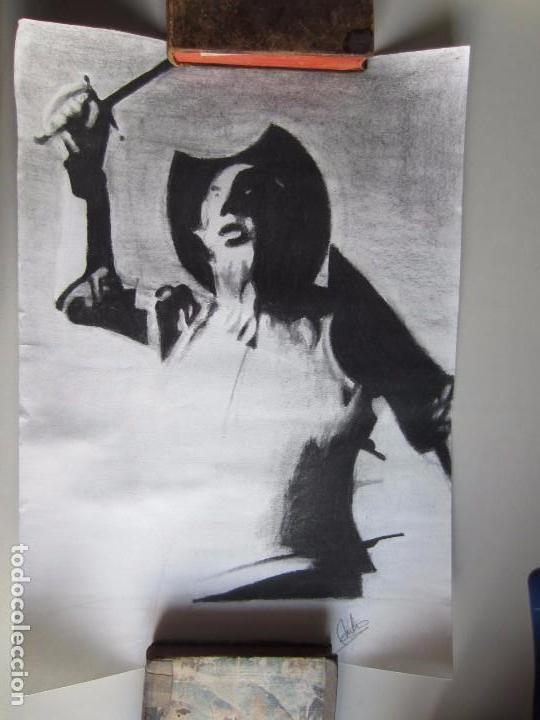 CUADRO-DIBUJO DE DON QUIJOTE A CARBONCILLO.FIRMA DE AUTOR. PINTURA. CERVANTES (Arte - Dibujos - Contemporáneos siglo XX)