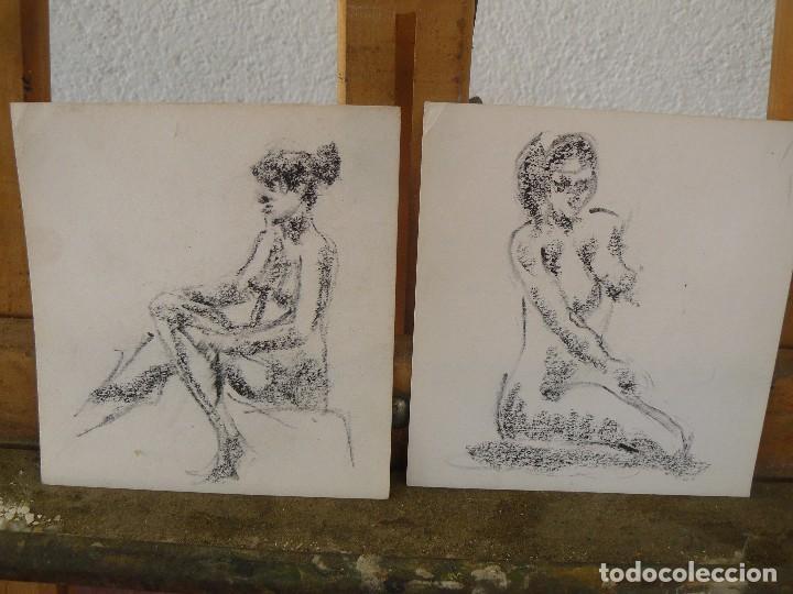 DIBUJOS A LAPIZ Y CARBONCILLO. - DESNUDOS FEMENINOS- M - (Arte - Dibujos - Contemporáneos siglo XX)