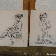 Arte: DIBUJOS A LAPIZ Y CARBONCILLO. - DESNUDOS FEMENINOS- M -. Lote 100497103