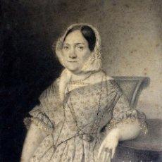 Arte: RETRATO DE DAMA. MINIATURA. DIBUJO CARBONCILLO Y GRAFITO. ESPAÑA. CIRCA 1850. Lote 100497847