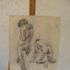 Arte: DIBUJO A LÁPIZ Y CARBÓN-FDO PÉREZ RIPOLL-1974-DESNUDO FEMENINO. Lote 100498583