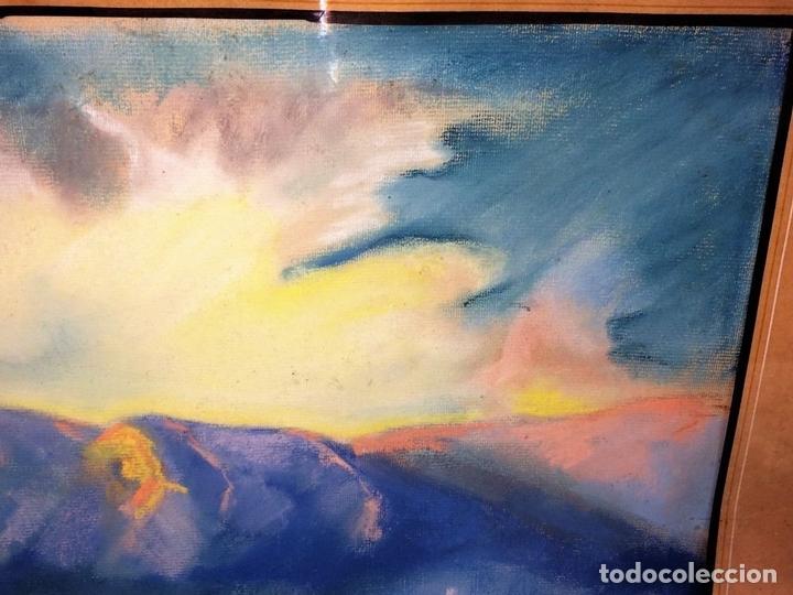 Arte: MONTAÑAS AL AMANECER. DIBUJO PASTEL SOBRE PAPEL. ANÓNIMO. ESPAÑA. XIX-XX - Foto 7 - 100729335