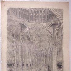 Arte: FUNERALES DEL PAPA PIO IX, CATEDRAL DE BARCELONA. FIRMADO: TAMARO. AÑO 1878. 44X30,5CM.. Lote 100740547