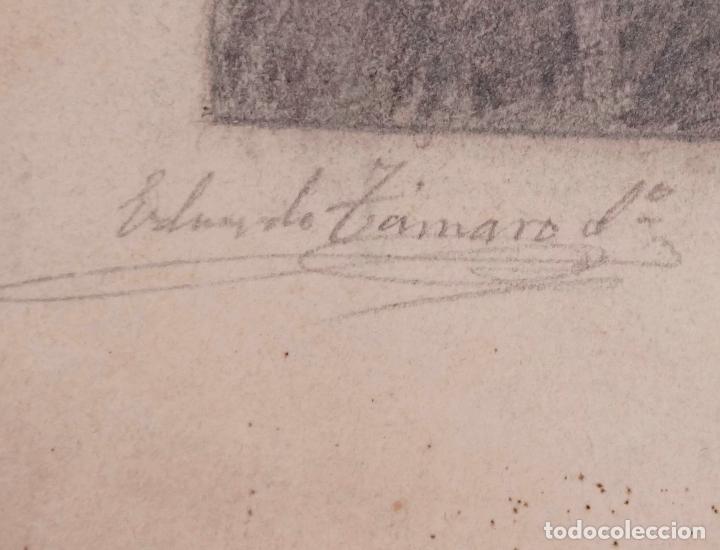 Arte: FUNERALES DEL PAPA PIO IX, CATEDRAL DE BARCELONA. FIRMADO: TAMARO. AÑO 1878. 44X30,5CM. - Foto 2 - 100740547
