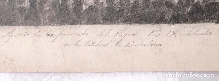 Arte: FUNERALES DEL PAPA PIO IX, CATEDRAL DE BARCELONA. FIRMADO: TAMARO. AÑO 1878. 44X30,5CM. - Foto 3 - 100740547