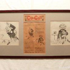 Arte: APA / FELIU ELIAS I BRACONS - 2 DIBUJOS ORIGINALES Y PÁGINA DEL CU-CUT / NOBLEZA - 1904. Lote 100752687