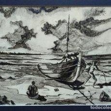 Arte: ARMANDO GUTIERREZ, DIBUJO A TINTA CHINA DEL GUADALQUIVIR. ENMARCADO Y FIRMADO. Lote 101001083