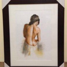 Arte: DOMINGO ÁLVAREZ GÓMEZ. OBRA ORIGINAL PASTEL, EROTIC GIRL. ENMARCADO.. Lote 101011579