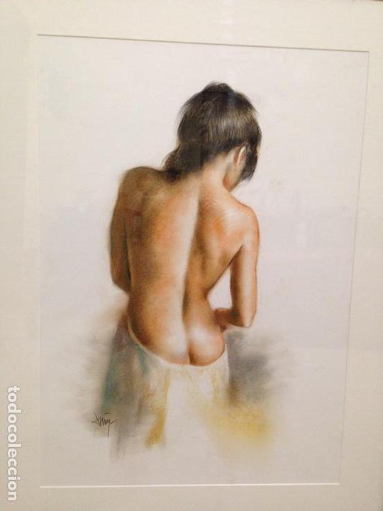 Arte: DOMINGO ÁLVAREZ GÓMEZ. OBRA ORIGINAL PASTEL, EROTIC GIRL. ENMARCADO. - Foto 2 - 101011579