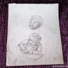 Arte: DIBUJO ORIGINAL DE LAMBERT BAGGEN, FIRMADO 1890. Lote 101200475