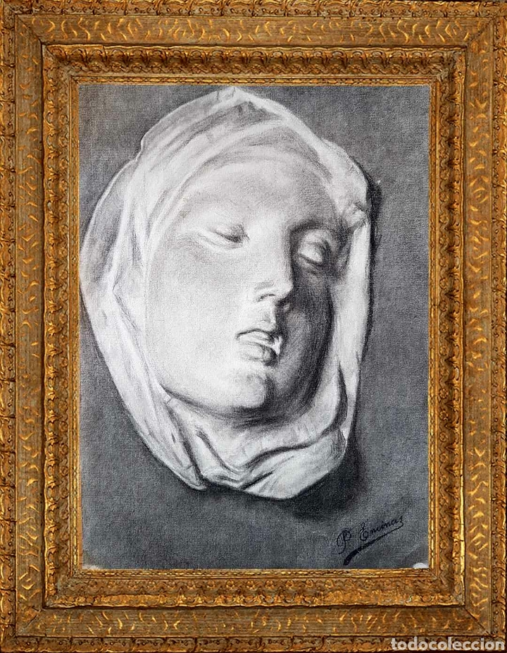 DOLOROSA DIBUJO CARBONCILLO FIRMADO (Arte - Dibujos - Modernos siglo XIX)