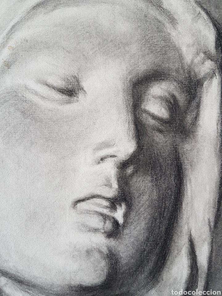 Arte: Dolorosa dibujo carboncillo firmado - Foto 2 - 101205047