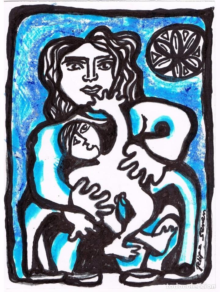 NAI DE RODEIRO / MADRE DE RODEIRO- DIBUJO ORIGINAL DE FELIPE SENÉN ( GALICIA ) (Arte - Dibujos - Contemporáneos siglo XX)