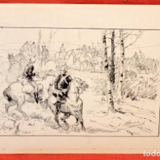 Arte: EUGENIO ÁLVAREZ DUMONT (1864 - 1927) DIBUJO A TINTA. ESCENA MILITAR. Lote 101618039
