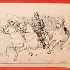 Arte: EUGENIO ÁLVAREZ DUMONT (1864 - 1927) DIBUJO A TINTA. ESCENA MILITAR. Lote 101618183