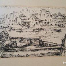 Arte: DIBUJO PUERTO CON FIRMA ILEGIBLE.BUEN TRAZO.. Lote 101685519