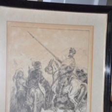 Arte: DIBUJO ORIGINAL REALIZADO A TINTA EN 1987 , FIRMADO , ESCENA QUIJOTESCA , QUIJOTE . Lote 101991139