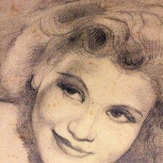 Arte: RETRATO DE DAMA. DIBUJO AL GRAFITO SOBRE PAPEL. JULIO RAMOS. ESPAÑA. CIRCA 1930. Lote 102362419