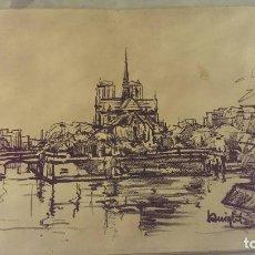 Arte: CUADRO GRABADO CATEDRAL NOTRE DAME PARIS CARBONCILLO ORIGINAL. Lote 102403635
