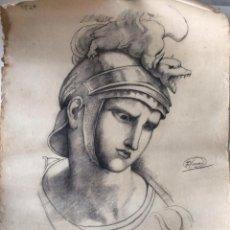Arte: DIBUJO AL CARBONCILLO PP. S. XX - BUSTO DE ROMANO - FIRMADO. Lote 102487211