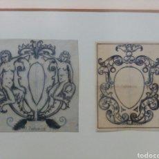 Arte: DANIEL ZULOAGA, DOS DIBUJOS A TINTA SOBRE PAPEL VEGETAL, SELLADOS, MODERNISTA, ART NOUVEAU, SEGOVIA. Lote 102624764