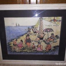 Arte: DIBUJO O CARICATURA TITULADA MAREA GORDA, CHIPIONA AGOSTO 1974 MIREN FOTOS . Lote 102769963