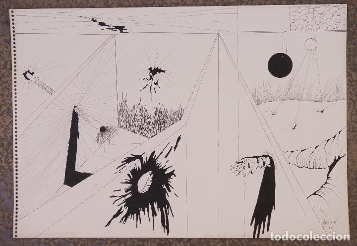 DIBUJO, 1976, FIRMA ILEGIBLE. 49,5X34CM (Arte - Dibujos - Contemporáneos siglo XX)
