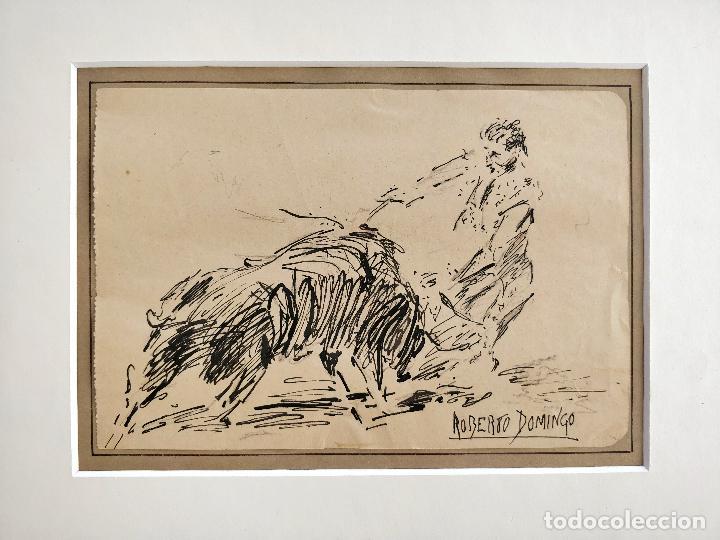 ROBERTO DOMINGO Y FALLOLA, DIBUJO ORIGINAL A TINTA, FIRMADO Y CON CUÑO SELLO DEL PINTOR (Arte - Dibujos - Contemporáneos siglo XX)