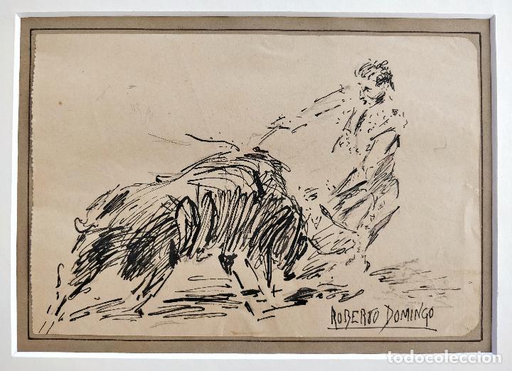Arte: ROBERTO DOMINGO Y FALLOLA, DIBUJO ORIGINAL A TINTA, FIRMADO Y CON CUÑO SELLO DEL PINTOR - Foto 2 - 102789671