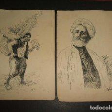 Arte: CONJUNTO 5 DIBUJOS A PLUMILLA SIGLO XIX 9,5 X 14 CMTS. Lote 102837771