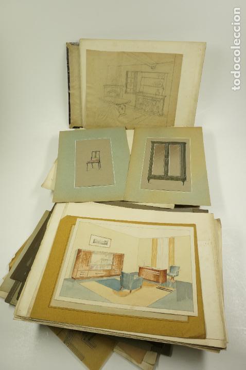 Arte: Gran lote de 156 dibujos de interiorismo 1920, acuarelas y dibujos sobre papel - Foto 2 - 102933555