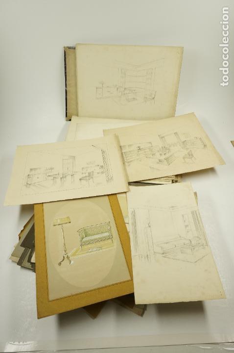Arte: Gran lote de 156 dibujos de interiorismo 1920, acuarelas y dibujos sobre papel - Foto 3 - 102933555