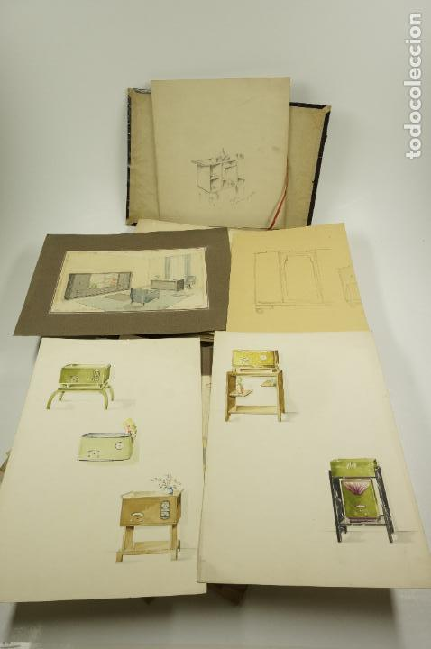 Arte: Gran lote de 156 dibujos de interiorismo 1920, acuarelas y dibujos sobre papel - Foto 4 - 102933555
