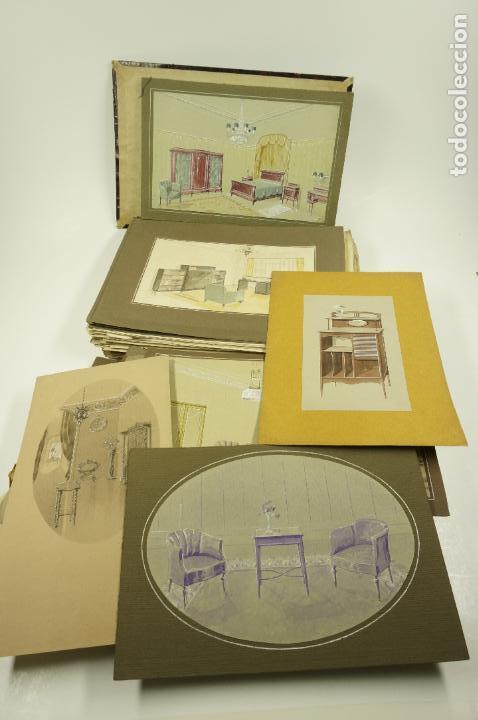 Arte: Gran lote de 156 dibujos de interiorismo 1920, acuarelas y dibujos sobre papel - Foto 5 - 102933555