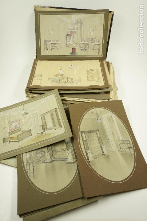 Arte: Gran lote de 156 dibujos de interiorismo 1920, acuarelas y dibujos sobre papel - Foto 6 - 102933555