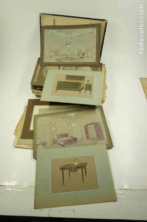 Arte: Gran lote de 156 dibujos de interiorismo 1920, acuarelas y dibujos sobre papel - Foto 7 - 102933555