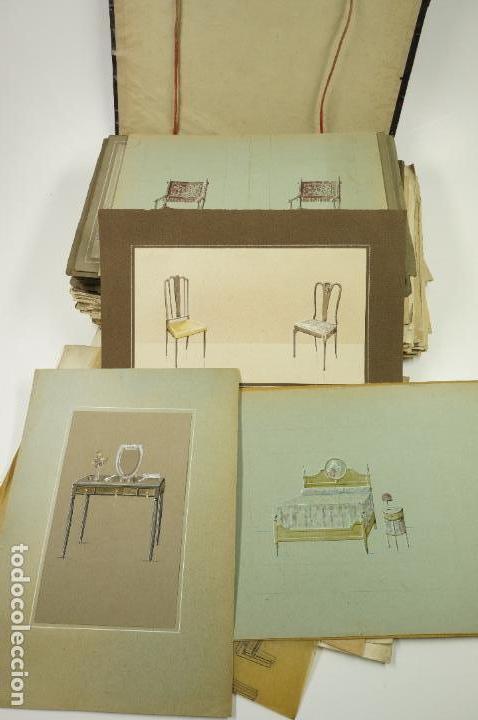 Arte: Gran lote de 156 dibujos de interiorismo 1920, acuarelas y dibujos sobre papel - Foto 8 - 102933555