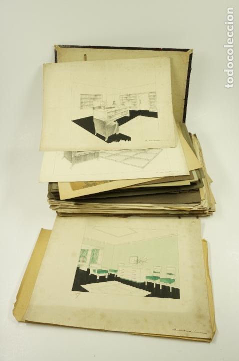 Arte: Gran lote de 156 dibujos de interiorismo 1920, acuarelas y dibujos sobre papel - Foto 9 - 102933555