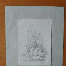 Arte: DELICADO Y BELLO DIBUJO A LÁPIZ DE SEGIMON RIBÓ I MIR (1799-1854). ESCENA COSTUMBRISTA.. Lote 103065823