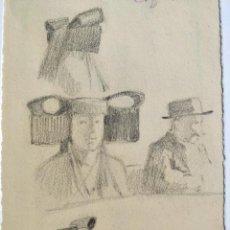 Arte: RETRATOS ORIGINALES IMPRESIONISTAS, PRINCIPIO DE SIGLO, FIRMADO FRANZ MAYER, DIBUJOS EN 2 CARAS. Lote 103112619