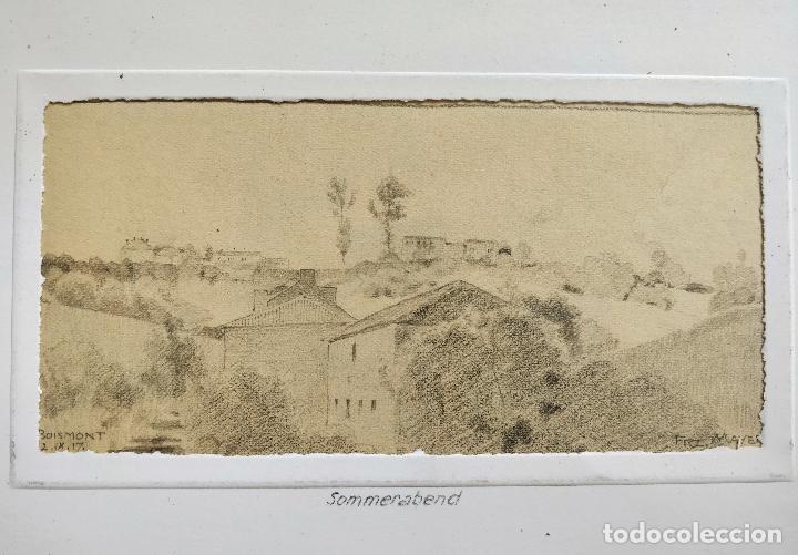 Arte: Retratos originales impresionistas, principio de siglo, firmado Franz Mayer, dibujos en 2 caras - Foto 2 - 103112619