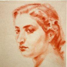 Arte: FIRMADO J. VILARRUBIAS. DIBUJO A SANGUINA DE APROXIMADAMENTE AÑOS 50. RETRATO FEMENINO. Lote 103287355