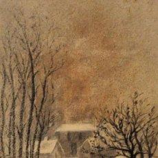 Arte: LUIS MENENDEZ PIDAL (PAJARES, 1861 - MADRID, 1932) TECNICA MIXTA PAPEL. ALREDEDORES DE OVIEDO. 1879. Lote 103391687