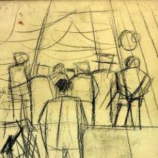 Arte: GRUPO DE PERSONAS. DIBUJO. CARBONCILLO SOBRE PAPEL. FIRMADO CURÓS (JORDI) ESPAÑA 1960. Lote 103409291