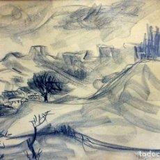Arte: PAISAJE MONTAÑOSO. CARBONCILLO SOBRE PAPEL. FIRMADO PEYRÓ(?). ESPAÑA. XX. Lote 103412463