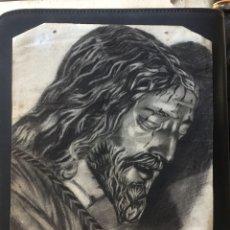 Arte: PRECIOSO DIBUJO HECHO A CARBONCILLO DE JESÚS DE NAZARET. ANTIGUO.. Lote 103482108